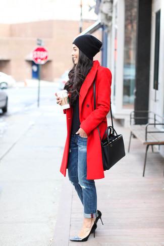 abrigo de invierno color rojo