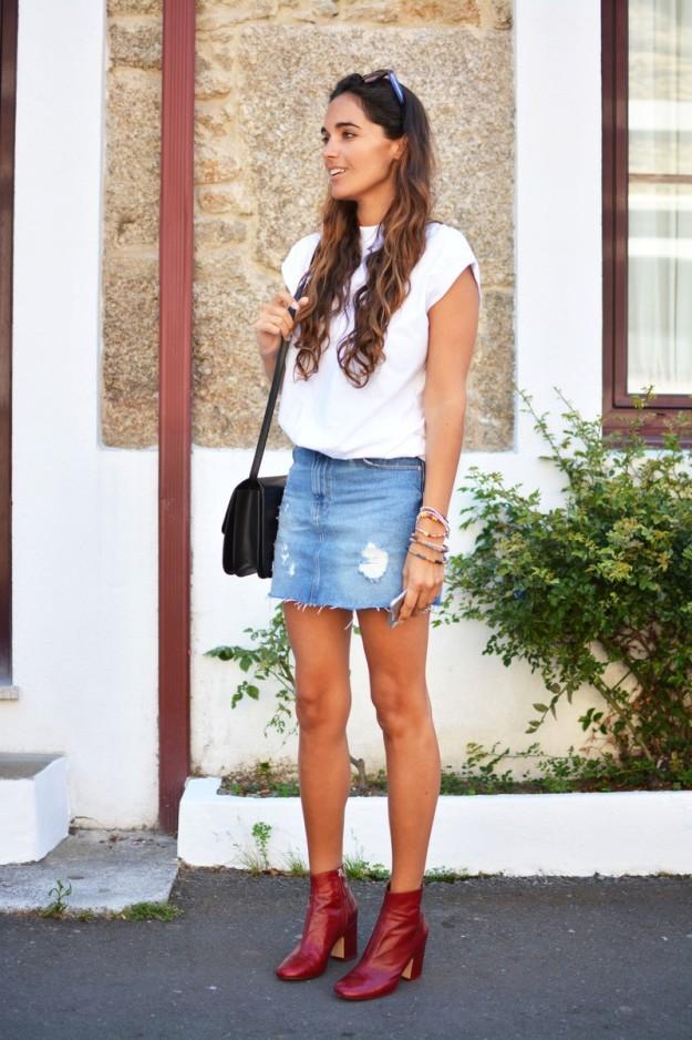 outfit con falda de jean