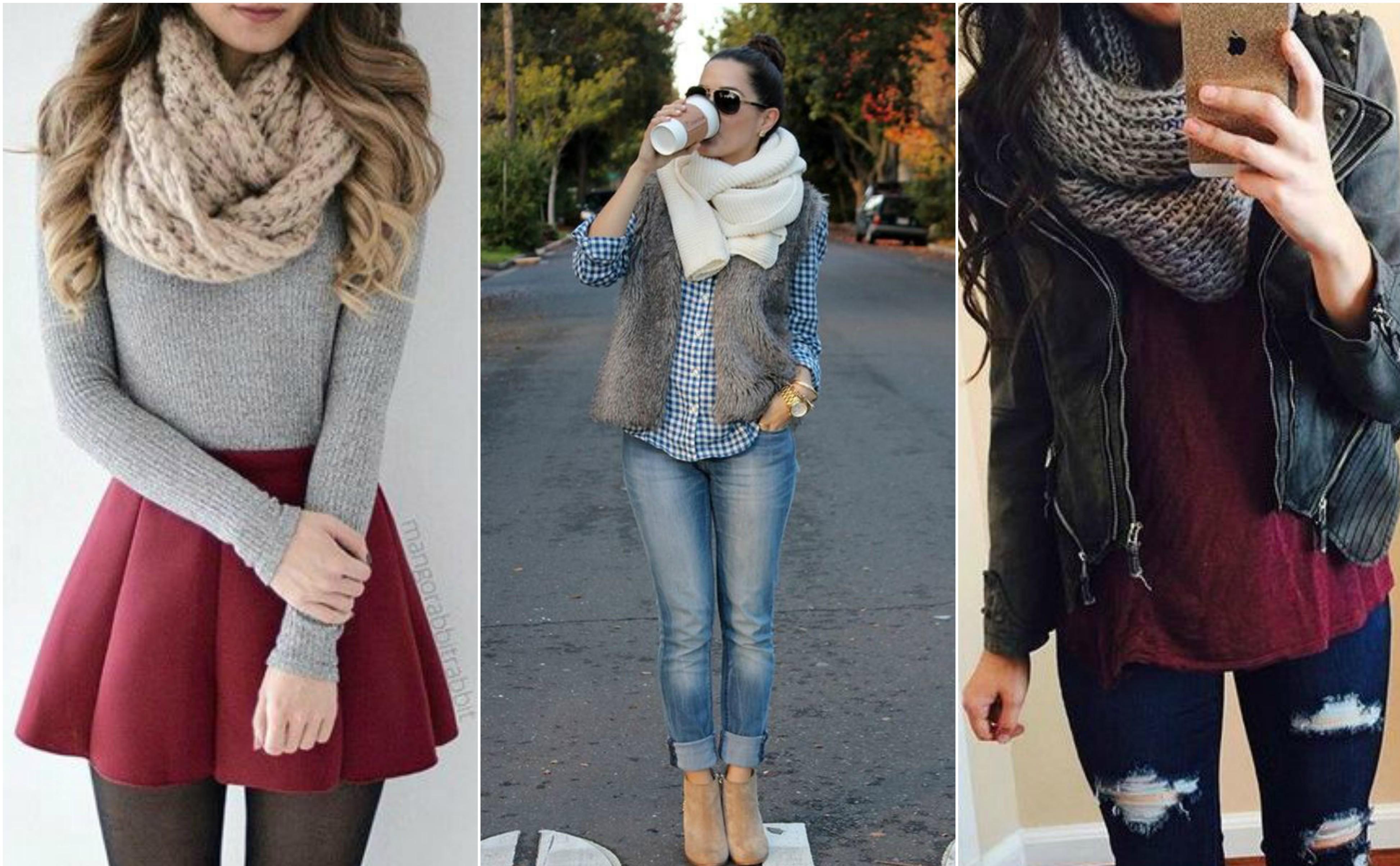 outfits de invierno con diferentes colores y texturas