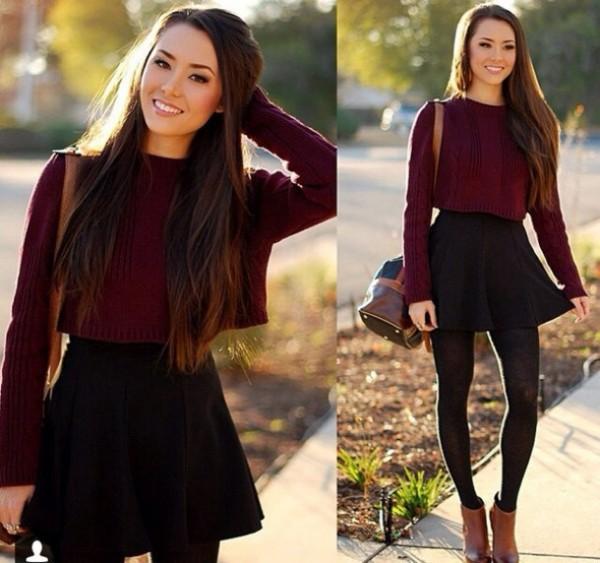 outfit de invierno con falda