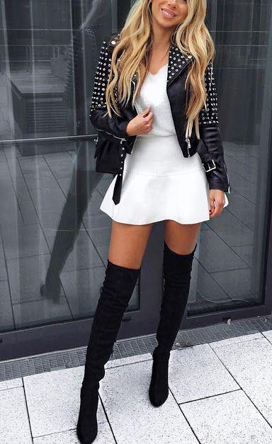 outfit falda con botines