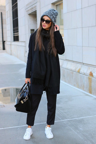 outfit total black de invierno
