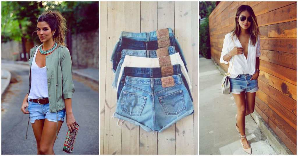 diferentes outfits con short de jean