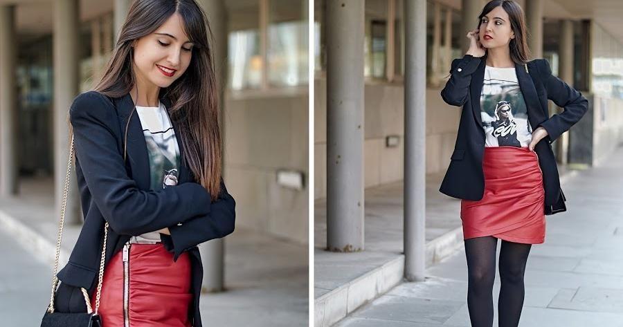 falda roja de cuero