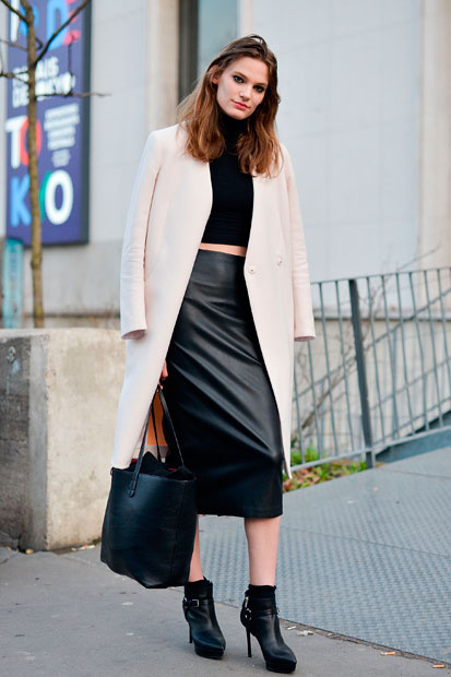 falda tubo con abrigo