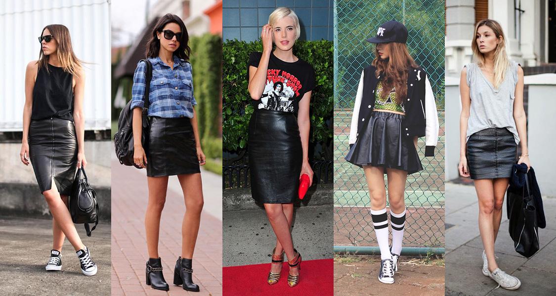 faldas de cuero negra
