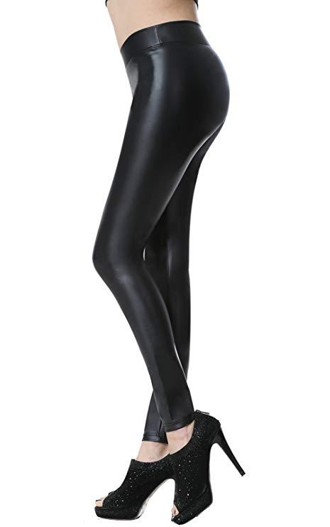 leggings de cuero negro