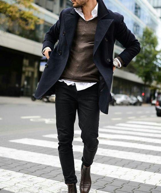 look formal de abrigo para hombre