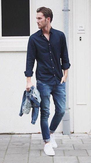 outfit casual de hombre con chaqueta de jean