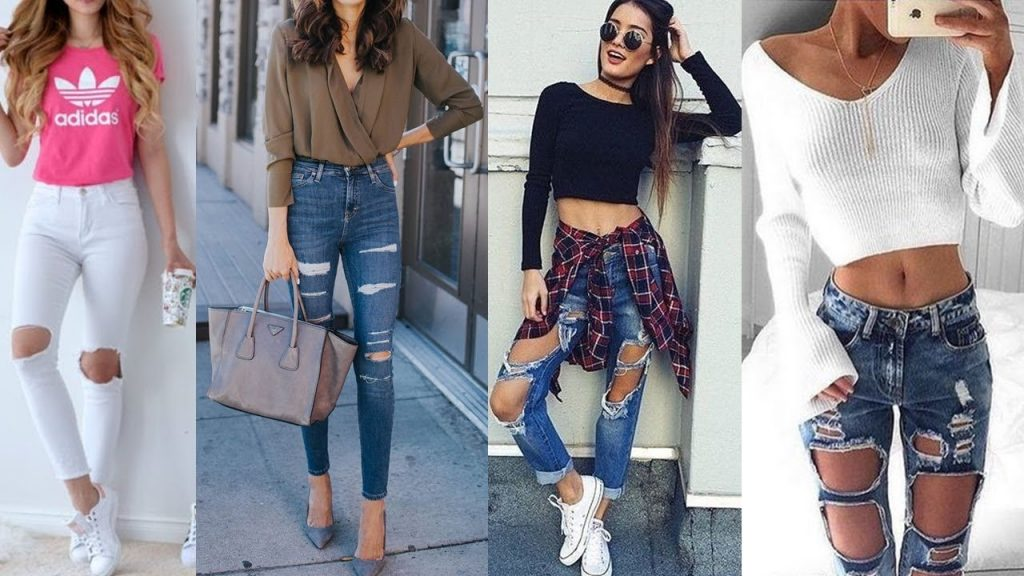 outfit con jeans rotos