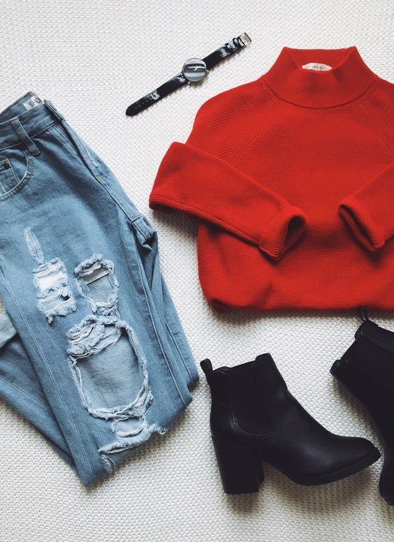outfit facil con jersey rojo