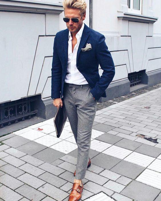 outfit formal con blazer de hombre