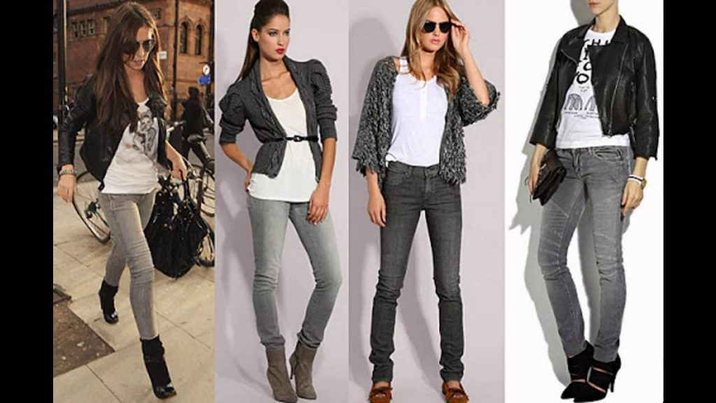 outfit jeans gris mujer