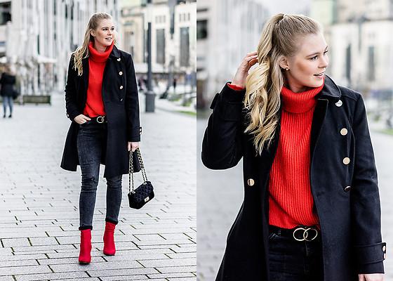 outfit negro y rojo