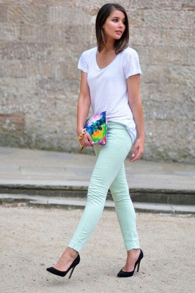 outfit pantalon verde menta