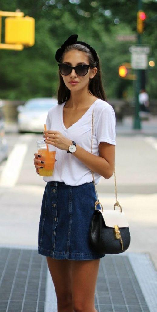 outfit sencillo con falda de jean