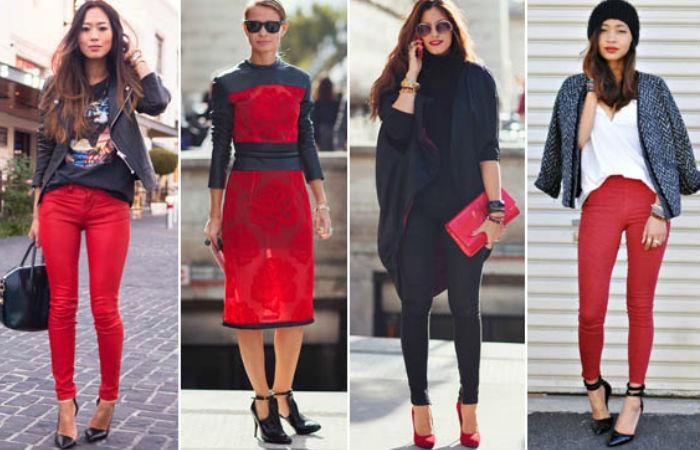 outfits negro con rojo