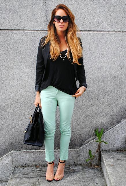 pantalon verde con negro