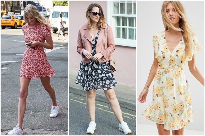 vestidos de primavera con zapatos deportivos