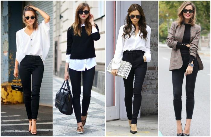 diferentes outfits con pantalon negro