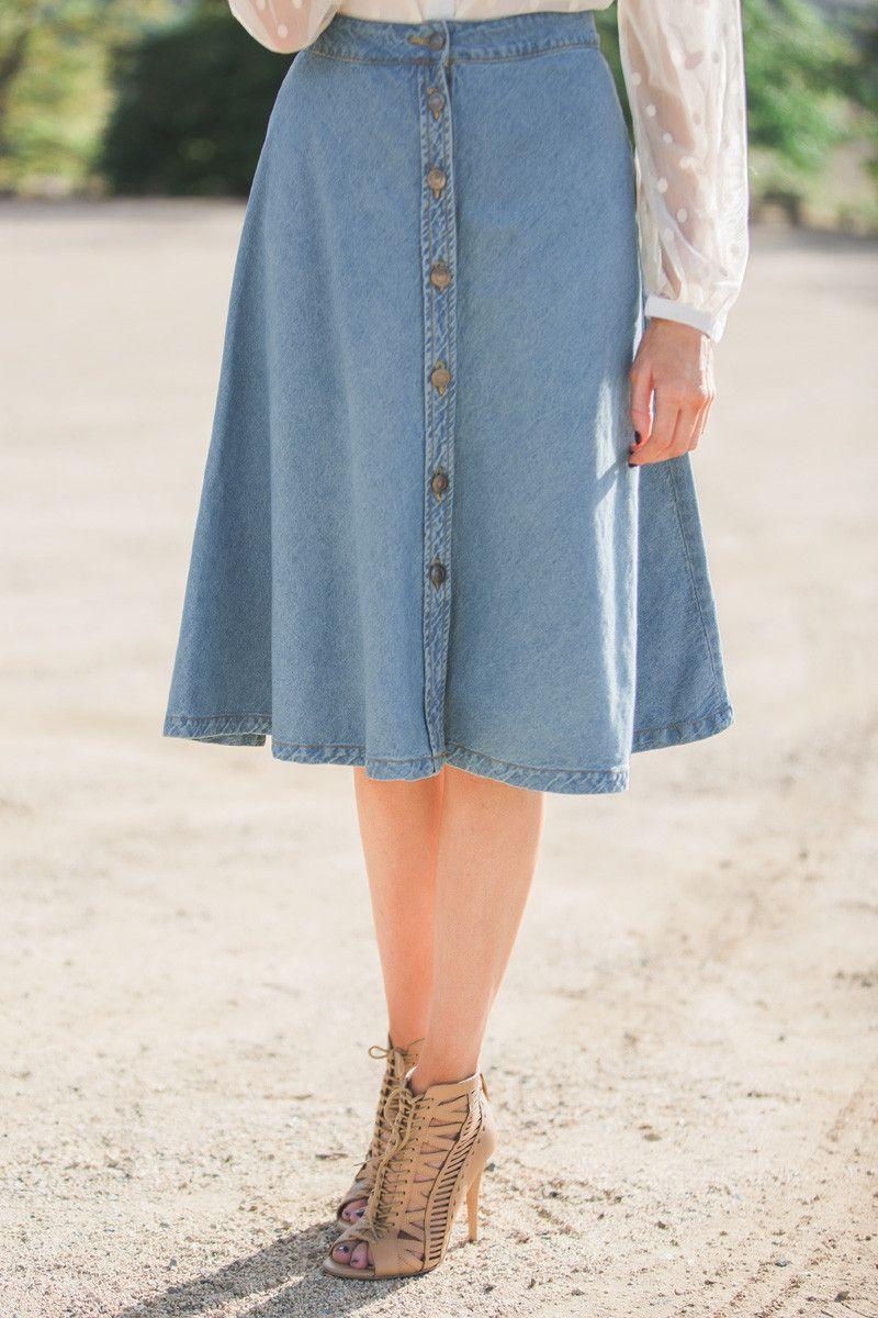 falda midi vaquera para la oficina