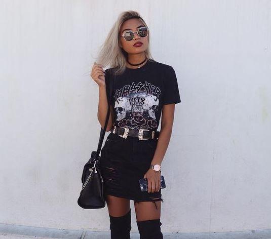 lindo outfit para concierto de rock