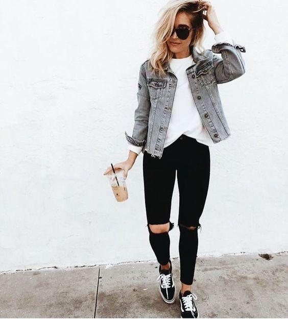 outfit blanco y negro de concierto