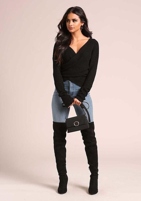 outfit botas altas negras
