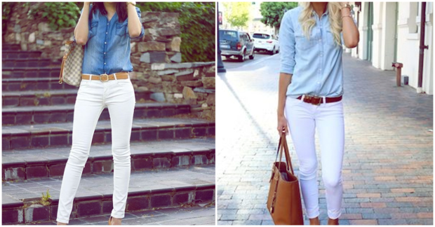 outfit casual de pantalon blanco