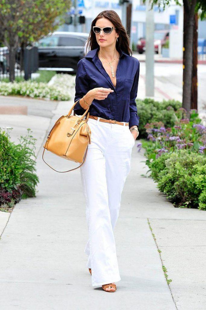 outfit marinero con pantalon blanco