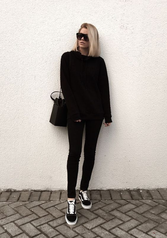 outfit con vans negros