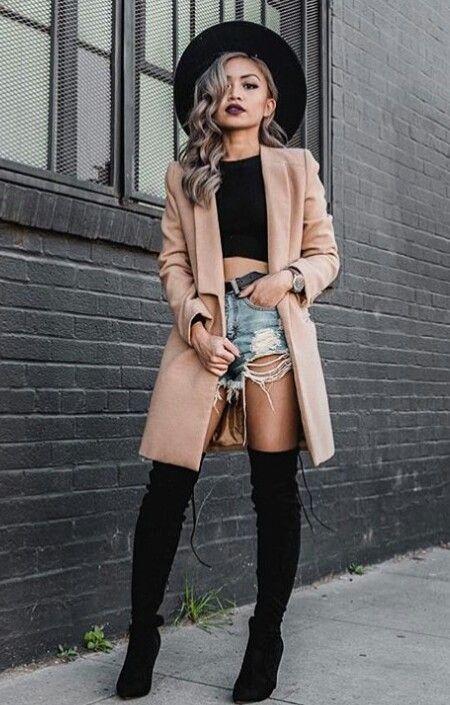 outfit de botas altas con short