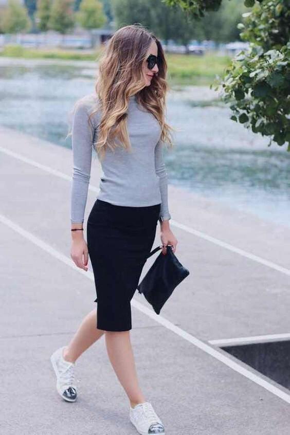 outfit de falda tubo con sueter
