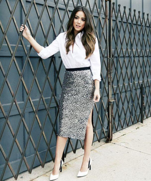 outfit de graduacion con falda brillante