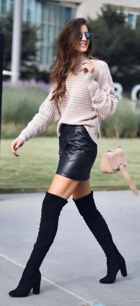 outfit de invierno con botas altas
