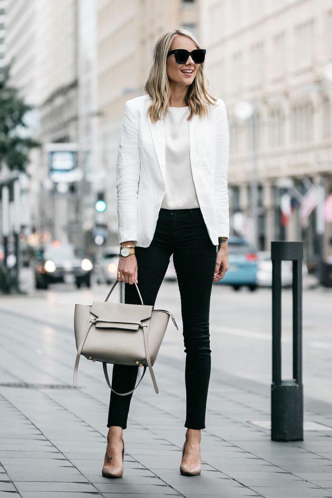 outfit de oficina blanco y negro