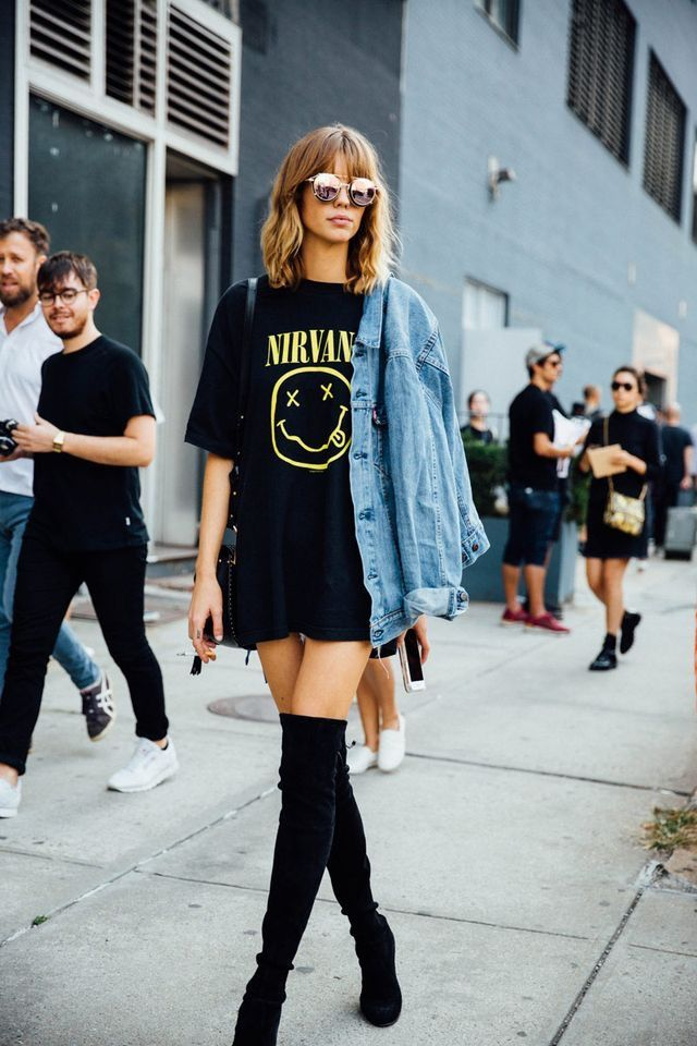 outfit de tshirt negra grunge