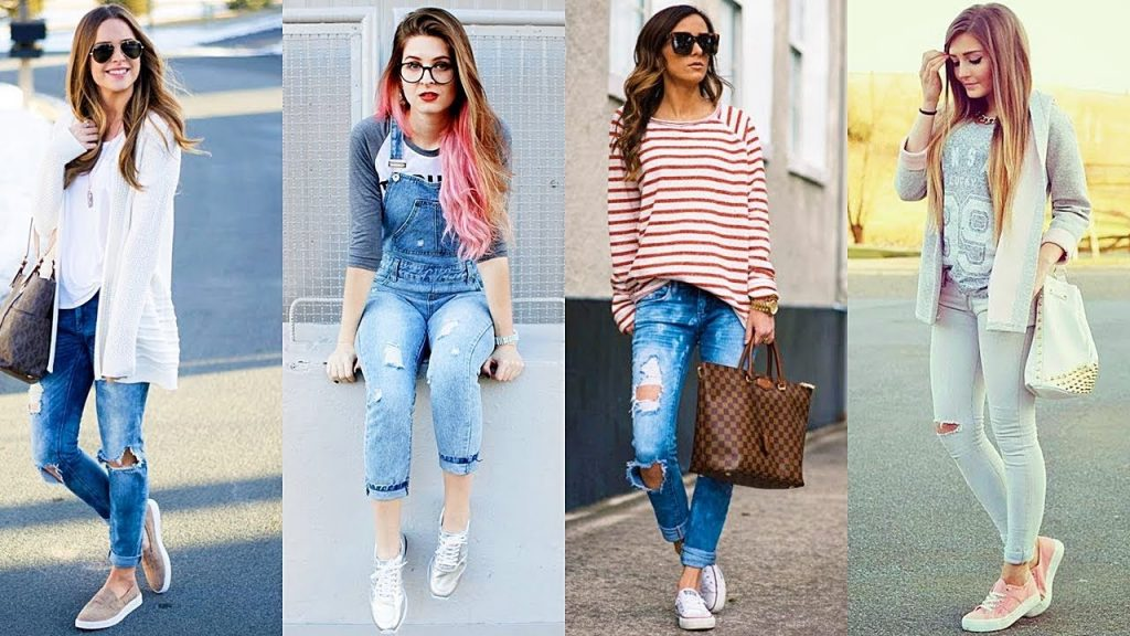 outfit deportivo con jean