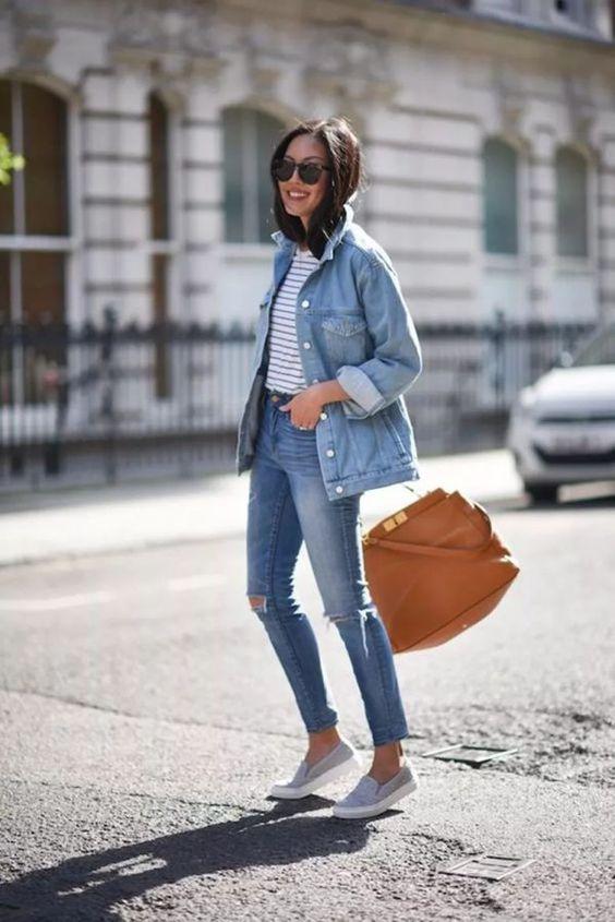outfit deportivo con prendas de jean
