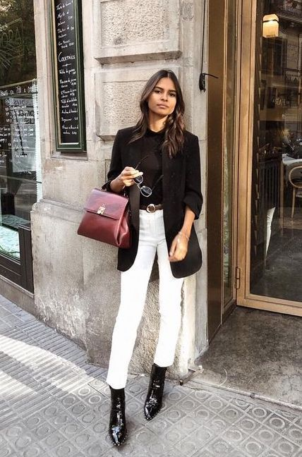 outfit jean blanco con cardigan