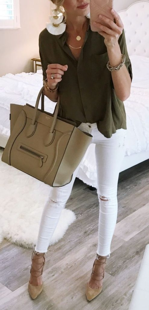 outfit jean blanco con verde