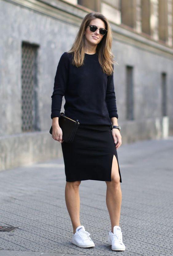 outfit negro con falda tubo