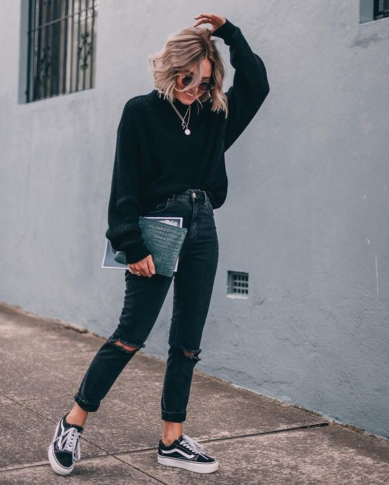 outfit negro con vans
