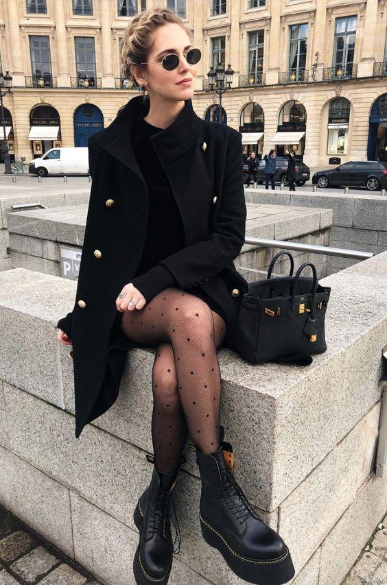 outfit negro sexy de invierno