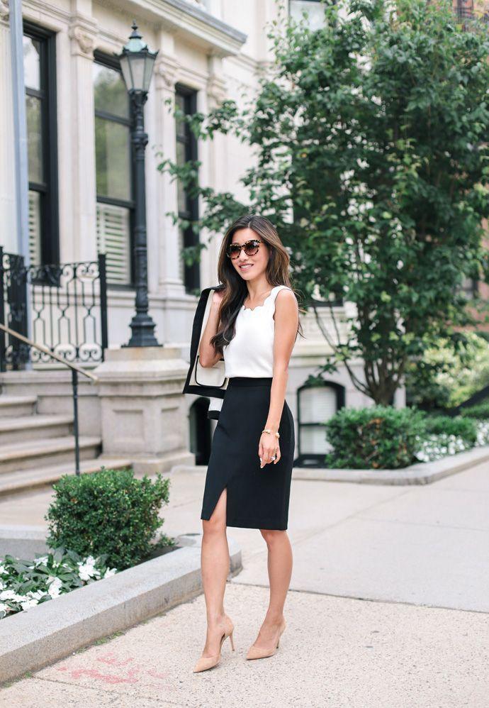 outfit de falda para oficina
