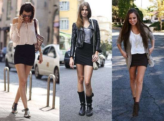 outfit con falda negra corta