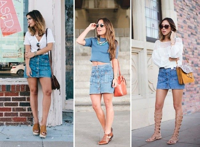 outfits con falda de boton