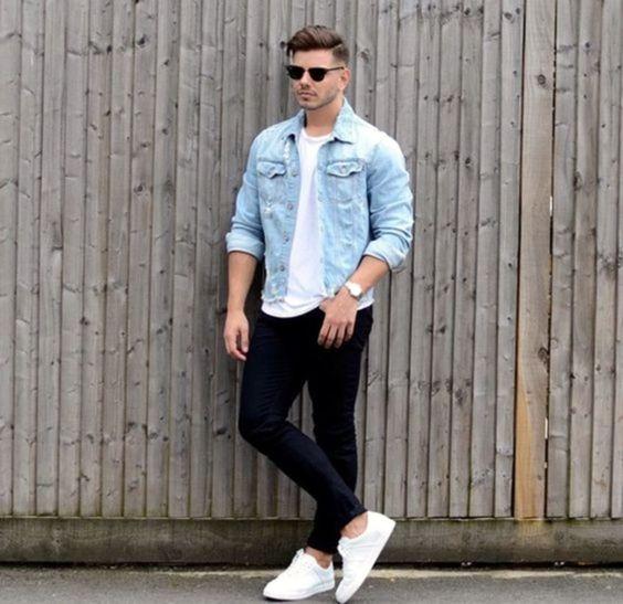 outfit casual de hombre con camisa vaquera