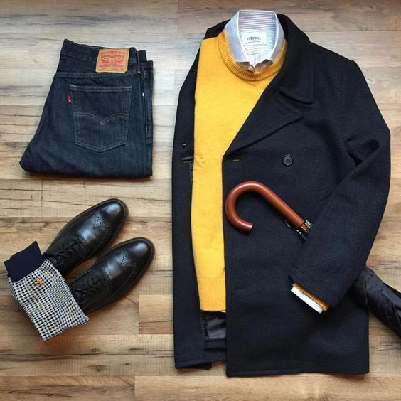 outfit casual de lluvia para hombre