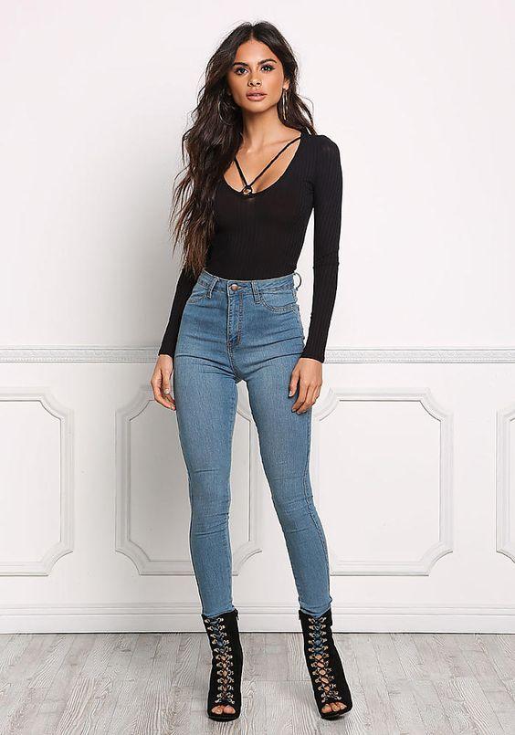 outfit con jean para la noche